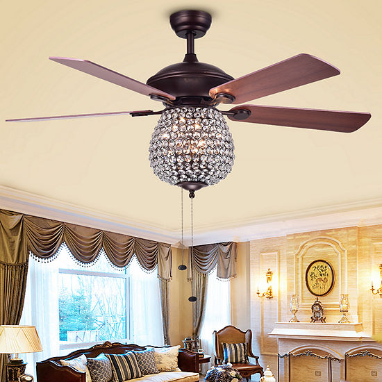 Claudric Antique Chrome 3-light Crystal Basket 5-blade 52-inch Ceiling Fan