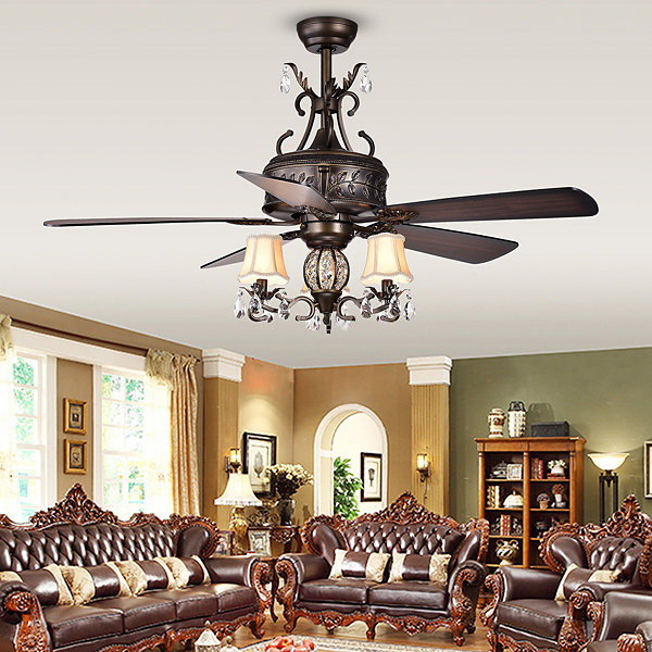 Firtha 5-Blade Antique Style 3-Light 52-Inch Ceiling Fan