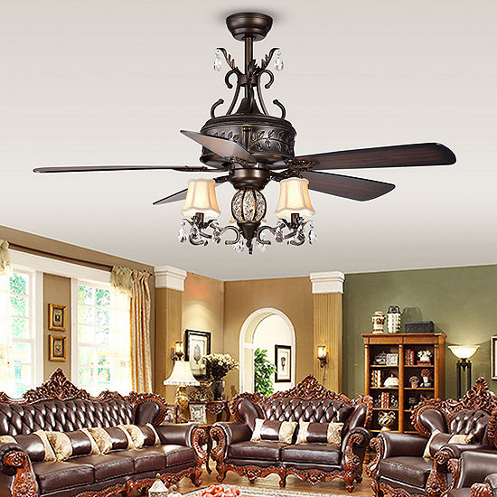 Firtha 5-Blade Antique Style 3-Light 52-Inch Ceiling Fan