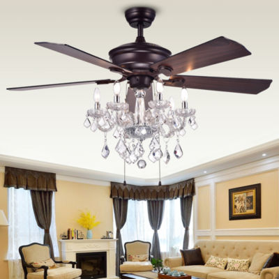 Havorand 52-inch 5-blade Ceiling Fan with Crystal Chandelier