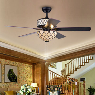 Tohva 6-Light Ivory Tiffany 5-Blade 52-Inch Matte Black Ceiling Fan