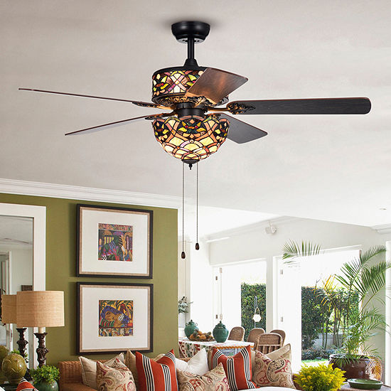 Kalsti 6-Light Lily Tiffany 5-Blade 52-Inch Matte Black Ceiling Fan