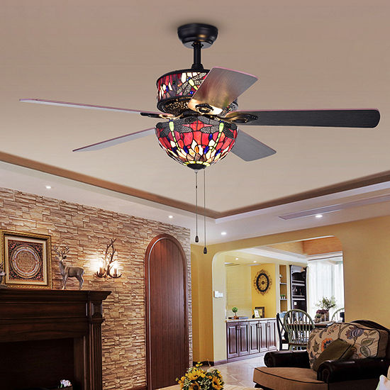 Jalev 6-Light Dragonfly Tiffany 5-Blade 52-Inch Matte Black Ceiling Fan