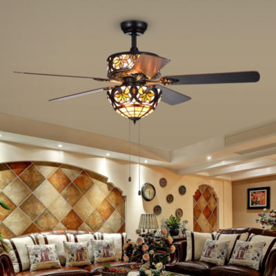 Jyrku 6-Light Yellow Flower Tiffany 5-Blade 52-Inch Matte Black Ceiling Fan