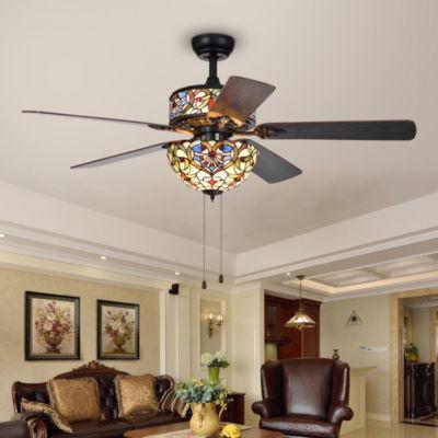 Ransoe 6-Light Blue Heart Tiffany 5-Blade 52-Inch Matte Black Ceiling Fan