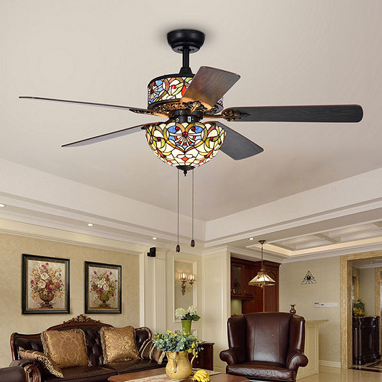 Ransoe 6-Light Blue Heart Tiffany 5-Blade 52-Inch Matte Black Ceiling Fan