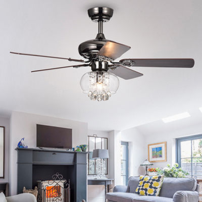 Aequor 1-Light Glass and Crystal 5-Blade 42-Inch Pear Black Ceiling Fan