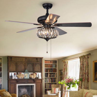 Chrysaor 3-Light Crystal 5-Blade 52-Inch Brown Ceiling Fan