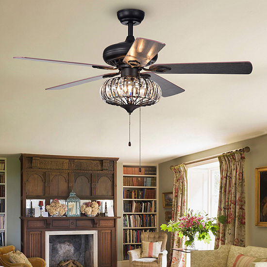 Chrysaor 3-Light Crystal 5-Blade 52-Inch Brown Ceiling Fan