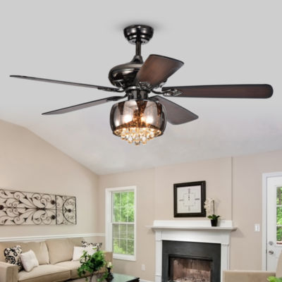 Nettle 3-Light Shaded Glass and Crystal 5-Blade 52-Inch Pear Black Ceiling Fan