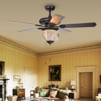 Priteen 3-Light Crystal Bead 5-Blade 52-Inch Brown Ceiling Fan