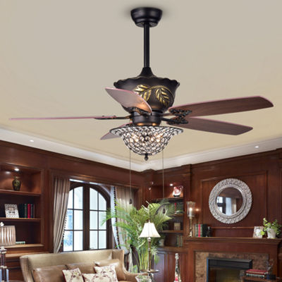Collins 52-Inch 5-Blade Ceiling Fan Crystal Bowl