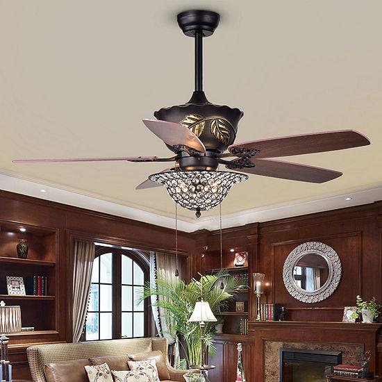 Collins 52-Inch 5-Blade Crystal Bowl Ceiling Fan