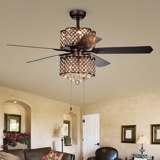 Quincy 6-light Crystal 5-blade 52-inch Rustic Bronze Ceiling Fan