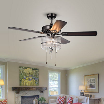 Bilhah 3-light Crystal 5-blade 52-inch Pear Black Ceiling Fan