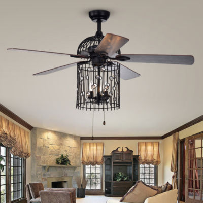 Blodwyn 3-light Metal Cage 5-blade 52-inch Matte Black Ceiling Fan