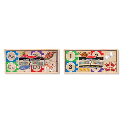 Melissa & Doug® Self-Correcting Letters and Numbers Puzzle Bundle