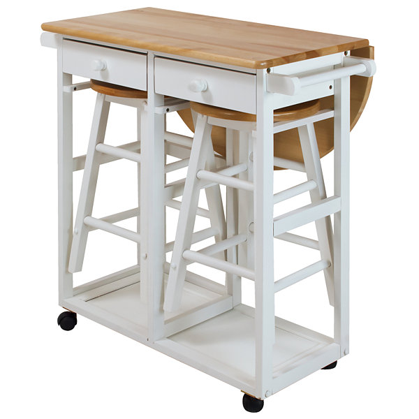 Breakfast Cart with Drop-Leaf Table