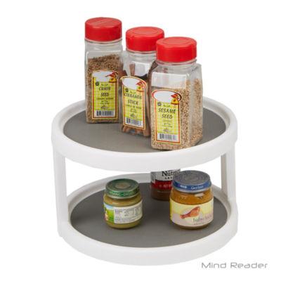 Mind Reader 2 Tier Turntable Multi Purpose Kitchen Storage Organizer, Gray