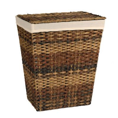 Seville Classics® Handwoven Lidded Laundry Hamper /w Canvas Liner, Mocha