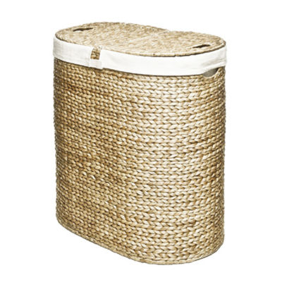 Seville Classics® Water Hyacinth Lidded Oval Double Hamper
