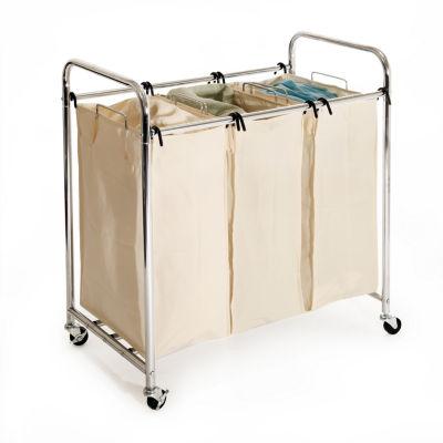 Seville Classics® Mobile 3-Bag Heavy-Duty Laundry Hamper Sorter Cart