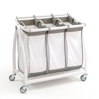 Seville Classics® Premium 3-Bag Heavy-Duty Tilt Laundry Hamper Sorter Cart