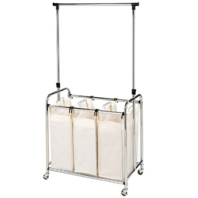 Seville Classics® Mobile 3-Bag Heavy-Duty Laundry Hamper Sorter Cart /w Clothes Rack