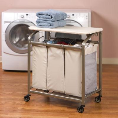 Seville Classics® Mobile 3-Bag Heavy-Duty Laundry Hamper Sorter Cart /w Folding Table