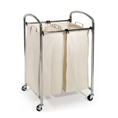 Seville Classics® Mobile Double Bag Compact Laundry Hamper Sorter Cart