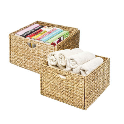 Seville Classics® Woven Hyacinth Storage Cube Basket (2-Pack)