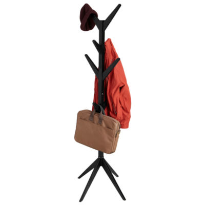 Mind Reader 8 Hook Solid Free Standing Wood Coat Rack, Entryway Coat Tree Hat Hanger Umbrella Holder
