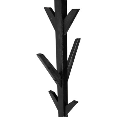 Mind Reader 8 Hook Solid Free Standing Wood Coat Rack, Entryway Coat Tree Hat Hanger Umbrella Holder