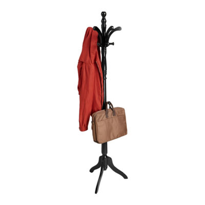 Mind Reader 11 Hook Solid Free Standing Wood Coat Rack, Entryway Coat Tree Hat Hanger Umbrella Holder