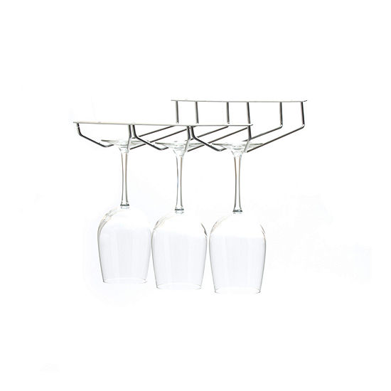 Mind Reader  'Rail'  Under Cabinet Wine Glass Stemware Rack Holder, Chrome