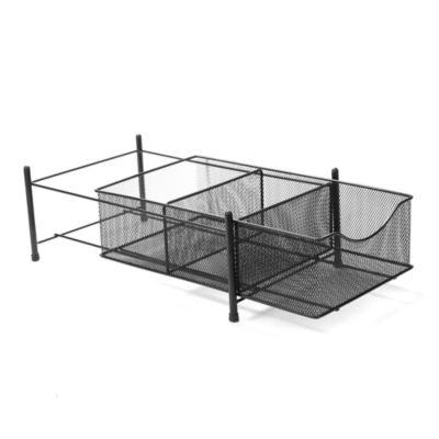 Mind Reader 3 Compartment Metal Mesh Storage Bin Organizer, Black