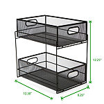Mind Reader 2 Tier Metal Mesh Storage Baskets Organizer, Black