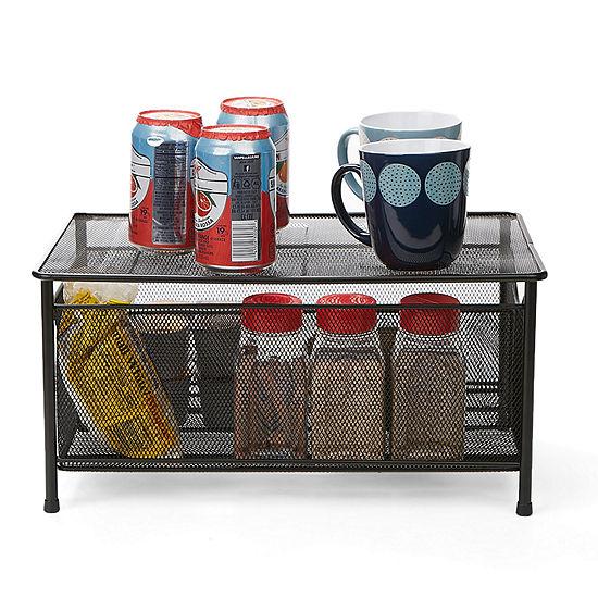 Mind Reader Storage Basket w/ Sliding Drawer and Steel Mesh Platform On Top, Black