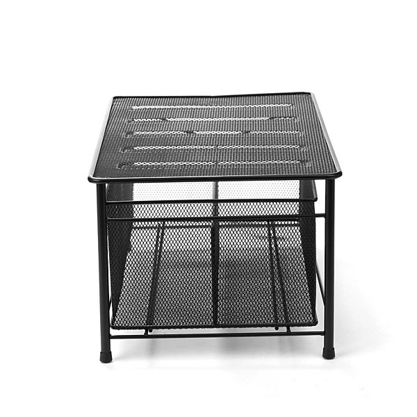 Mind Reader Storage Basket w/ Sliding Drawer and Steel Mesh Platform On Top, Black