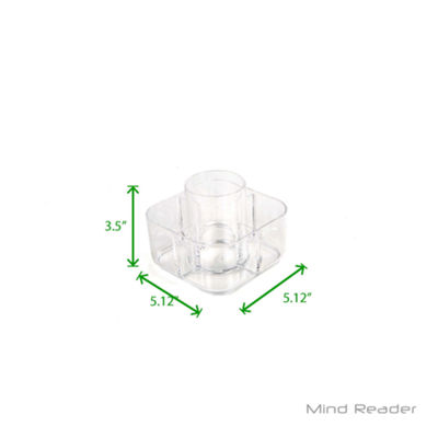Mind Reader Acrylic 5 Compartment Square Makeup Holder, Clear