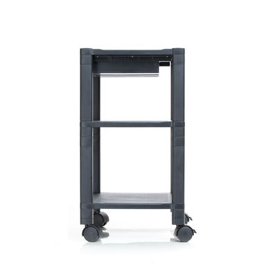 Mind Reader 'Classify' 3 Shelf  Mobile Printer Cart with Cord Management, Black