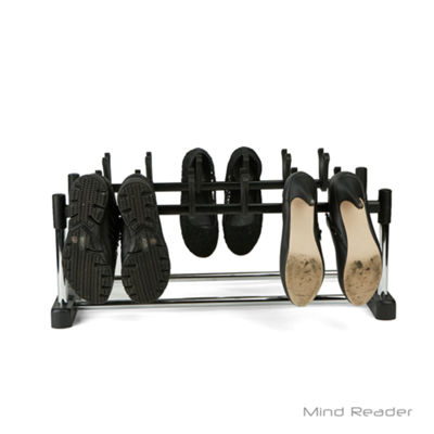 Mind Reader 6 Pair Footwear Organizer Stand With Patented Hooks, Black