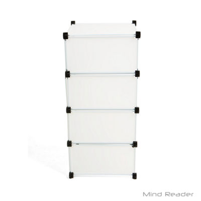 Mind Reader Multi-Purpose Wide 4 Tier Magic Cube, White