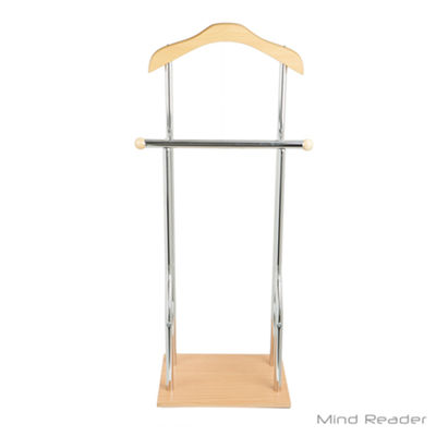 Mind Reader Steel and Bamboo Wood Valet Suit Rack Stand, Silver