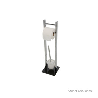Mind Reader Toilet Paper and Toilet Brush Holder, Silver
