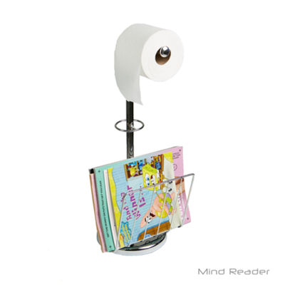 Mind Reader Stainless Steel Toilet Paper Holder with Magazine Holder, Silver