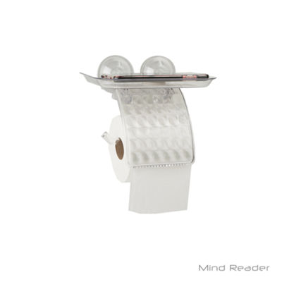 Mind Reader Toilet Paper Holder with Phone Bed Tray, Clear