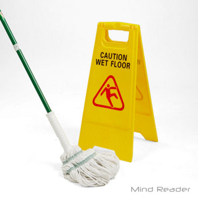 Mind Reader Caution Floor Warning Sign, Yellow