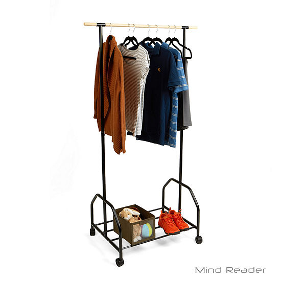 Mind Reader Rolling Garment Rack With One Bottom Shelf, Black