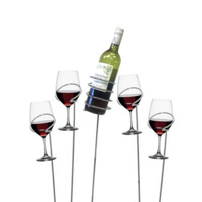 Mind Reader 'Picnic' Wine Bottle and Glass holder Sticks, 5 pc set